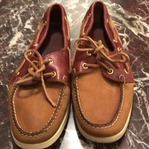 Sebago boat shoes saddle suede and leather mix